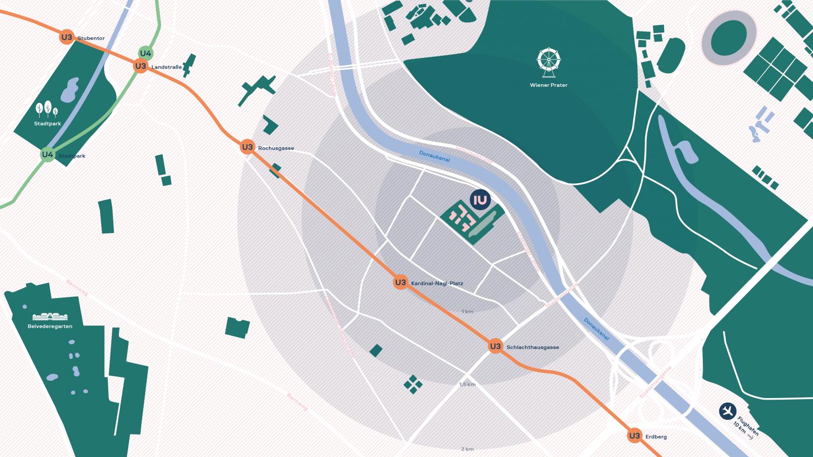 Umgebungsplan des Wohnprojektes IU im 3. Wiener Gemeindebezirk